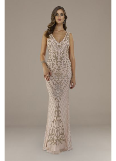 Lara Evita V-Back Beaded Mermaid Gown - Scrolled and lattice bead motifs add a stunning