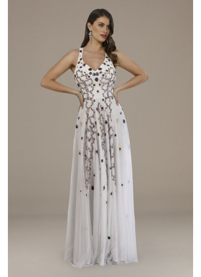 Lara Ellie Beaded Crossback Wedding Dress - Adorned with multi-colored beads, this tank dress is