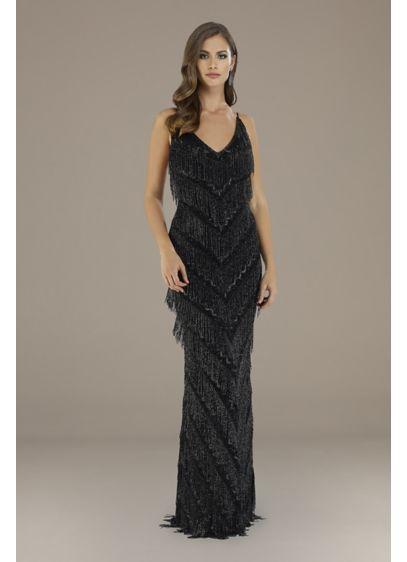Lara Electra Layered Beaded Fringe V-Neck Gown - Diagonal layers of beaded fringe give this sheath