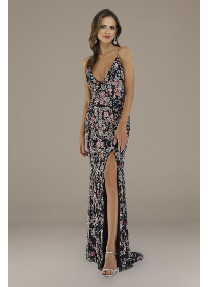 Lara Everly Floral Beaded V-Neck Gown - A plunging V-neckline, beaded spaghetti straps, and a