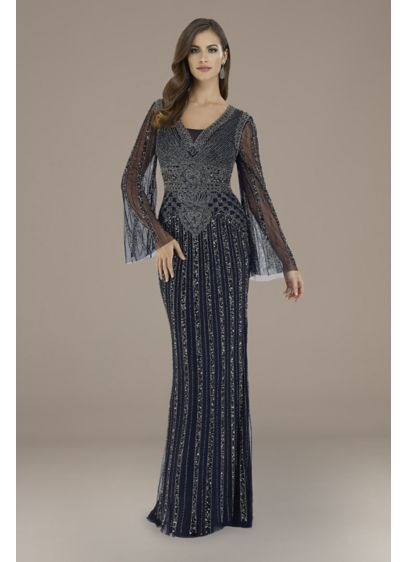 Lara Elizabeth Beaded Bell Sleeve V-Neck Gown - Long, sheer bell sleeves and a V-neckline add