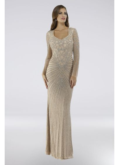 Lara Cleo Long-Sleeve Crystal Beaded Gown - This floor-length V-neck gown is covered in crystal