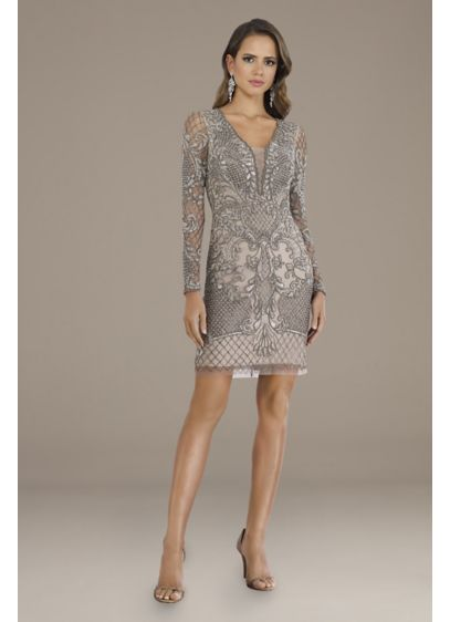 Short Long Sleeves Cocktail and Party Dress - Lara