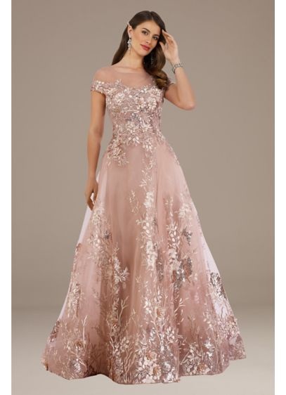 Metallic Lace Applique Sheer Overlay Ball Gown - Metallic lace appliques cover the bodice of this
