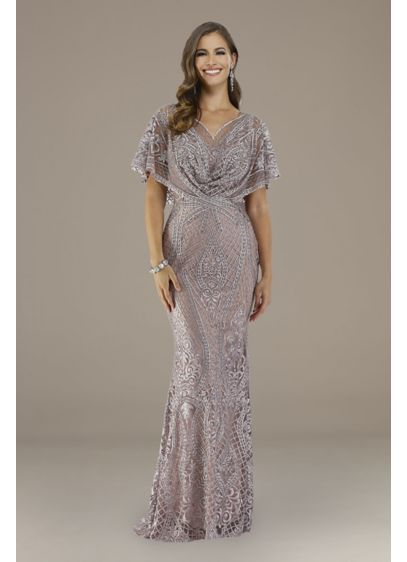 Long Sheath Capelet Formal Dresses Dress - Lara