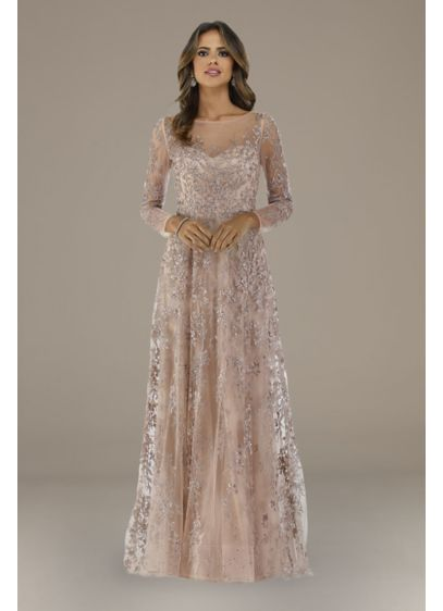 Lara Evette Lace A-Line Long Sleeve Gown - Beautiful floral lace adorns this enchanting dress from