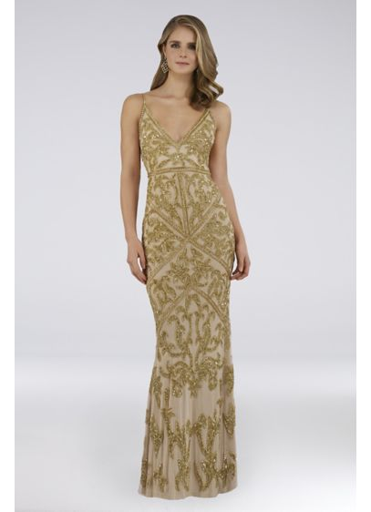 Lara Calissa Beaded V-Neck Gown with Sweep Train - Get ready to celebrate in this glamorous mesh
