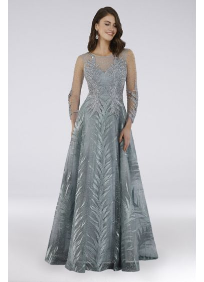 Lara Beaded Lace Palm Frond Illusion Ball Gown - Beads and lace create a tonal palm frond