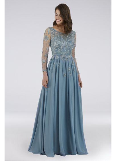 9aefcad1b952 Lara Floral Applique Long Sleeve Chiffon Ball Gown | David's Bridal