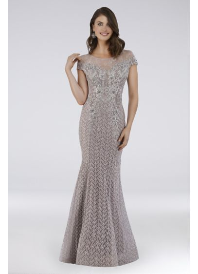 Lara Beaded Lace Cap Sleeve Mermaid Gown - You'll look dazzling in this beaded lace mermaid