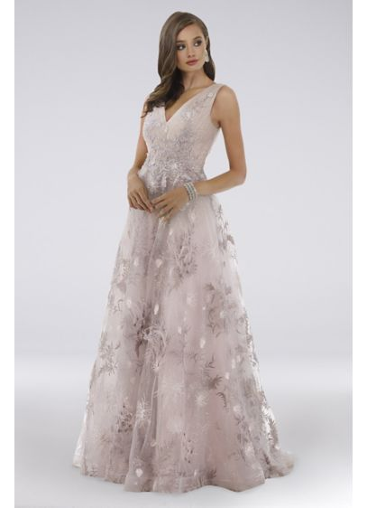 Lara Pink (Lara Daphne Lace V-Neck Ball Gown with Feathers)