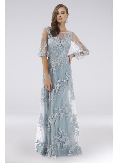 Lara Diana Lace Dress with 3/4 Cape Sleeves - Topped with swirling floral appliques, an illusion neckline,