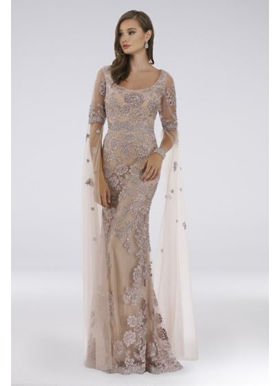 Lara Dorit Floral Lace Sheath Dress - Blooming with floral appliques from scoop neckline to