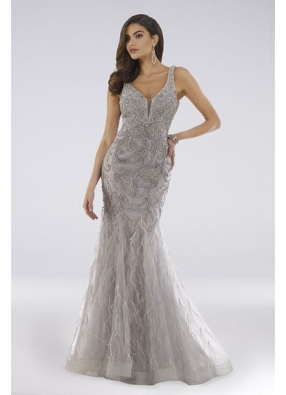 Lara Devin Beaded Plunging V-Neck Mermaid Gown - Covered in beads and crystals, and finished with