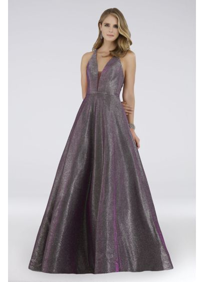 Lara Caroline Shimmer Plunging V-Neck Ball Gown - A plunging V-neckline and a cross-back with mesh