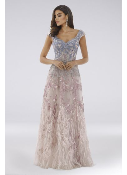 Lara Drew Lace Applique Ball Gown with Feathers - Adorned in ombre lace appliques and finished with