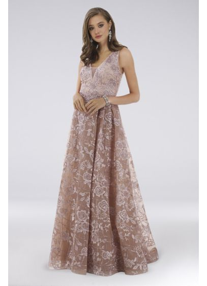 Lara Darla Lace Sleeveless Gown With Overskirt - Detailed with crystals and floral lace, this sleeveless