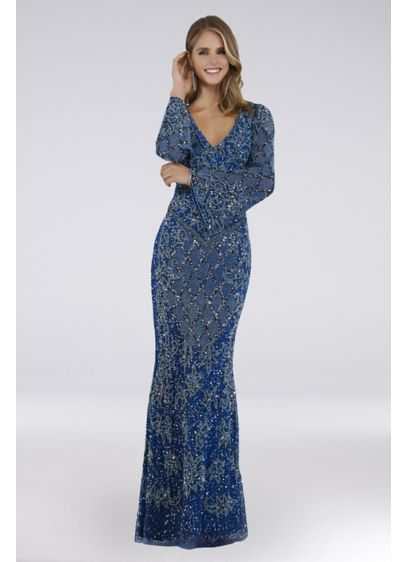 Lara Chloe Beaded Mesh Long Sleeve Gown - Lattice beading and long bell sleeves lend this