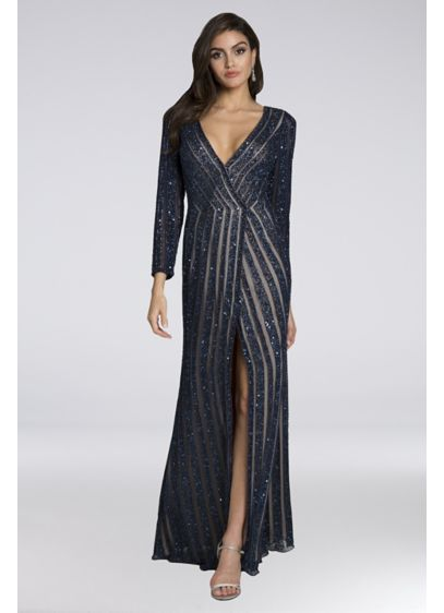Lara Bethany Beaded Mesh Wrap Sheath Gown - All we can say is,