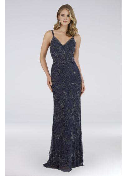 Lara Charlie Beaded Mesh Gown with Sweep Train - This show-stopping sheath dress features allover tonal beading,