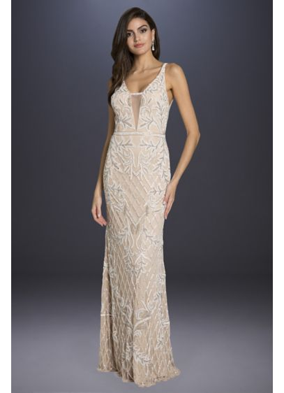 Lara Beverly Long Beaded Low-Back V-Neck Gown - Beaded in an ivy motif from straps to