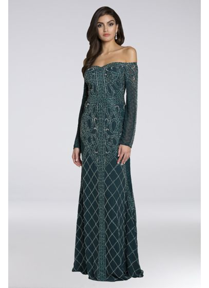 Lara Bernadette Beaded Off-the-Shoulder Gown - Beaded vine and lattice patterns embellish this chiffon