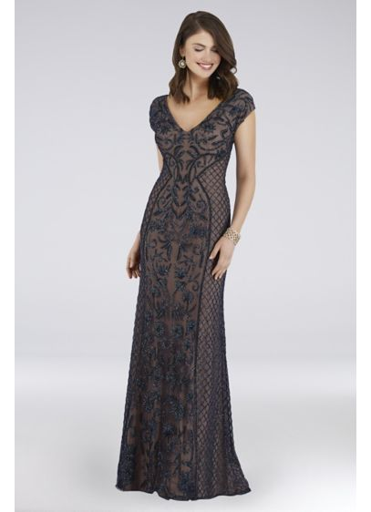 Lara Cap Sleeve Beaded Sheath with Sweep Train - Long and luxurious, the sophisticated V-neck sheath dress