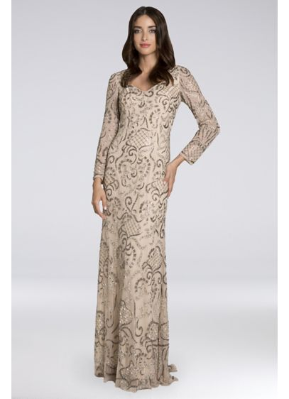 Lara Brenna Beaded Long-Sleeve Mesh Gown - This body-skimming V-neck gown features an allover beaded
