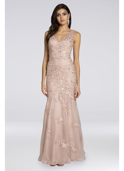 Lara Bianca Mesh V-Neck Mermaid Gown - Crystal accents and floral appliques lend this dreamy