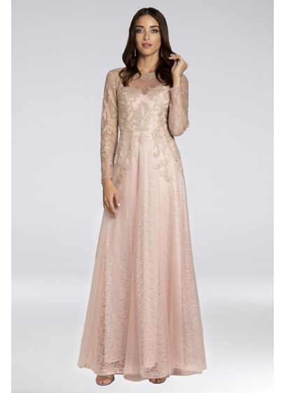 Lara Brianna Lace A-Line Gown with Long Sleeves - Illusion mesh sleeves and metallic lace appliques perfectly