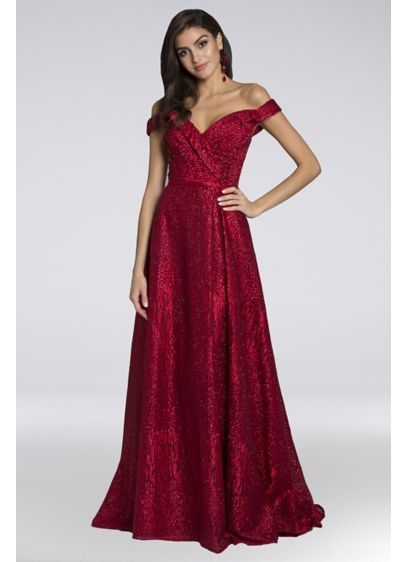 Lara Bridget Off-the-Shoulder Lace Ball Gown - This breathtaking leopard-print lace ball gown is covered