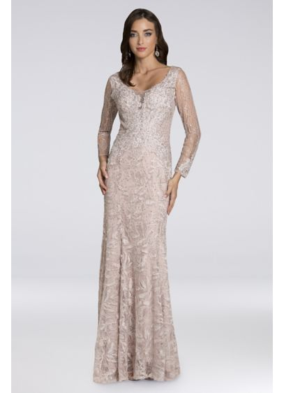Lara Beth Lace Long-Sleeve Gown - Adorned in shimmering stones and lace appliques, this