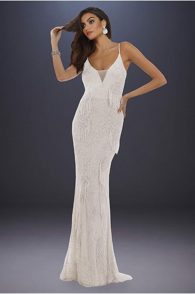 Lara Danika Floral Beaded Sheath Wedding Dress
