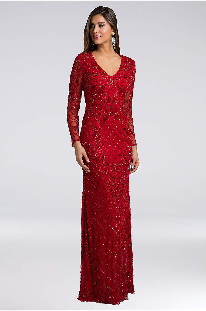 Lara Andrea Beaded Mesh Sheath Gown - Complete with a flattering V-neckline and long sleeves,