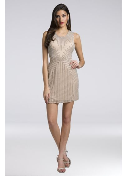 Lara Addison Beaded Mesh Sheath Short Dress - Geometric beading and a high neckline make this