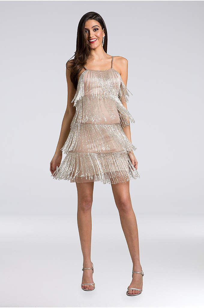 Lara Arianna Beaded Fringe Short Dress - Tiers of beaded fringe make this spaghetti strap