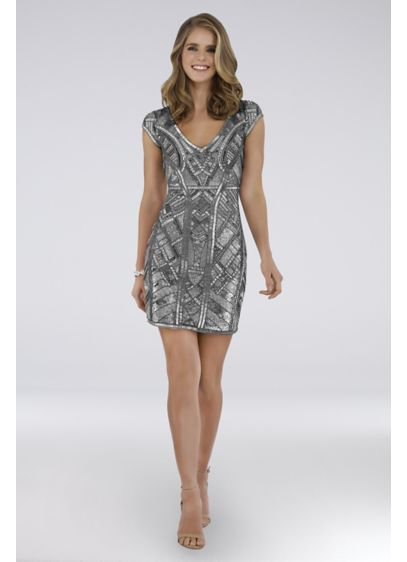 Short Sheath Cap Sleeves Cocktail and Party Dress - Lara