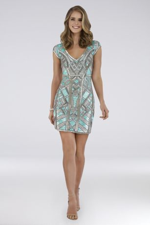 Short Sheath Cap Sleeves Dress - Lara