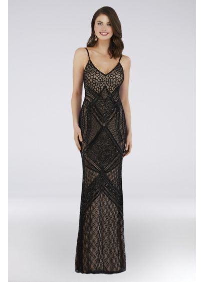Lara Bree Beaded Mesh Sheath Gown - Allover geometric beading makes this sleek sheath gown