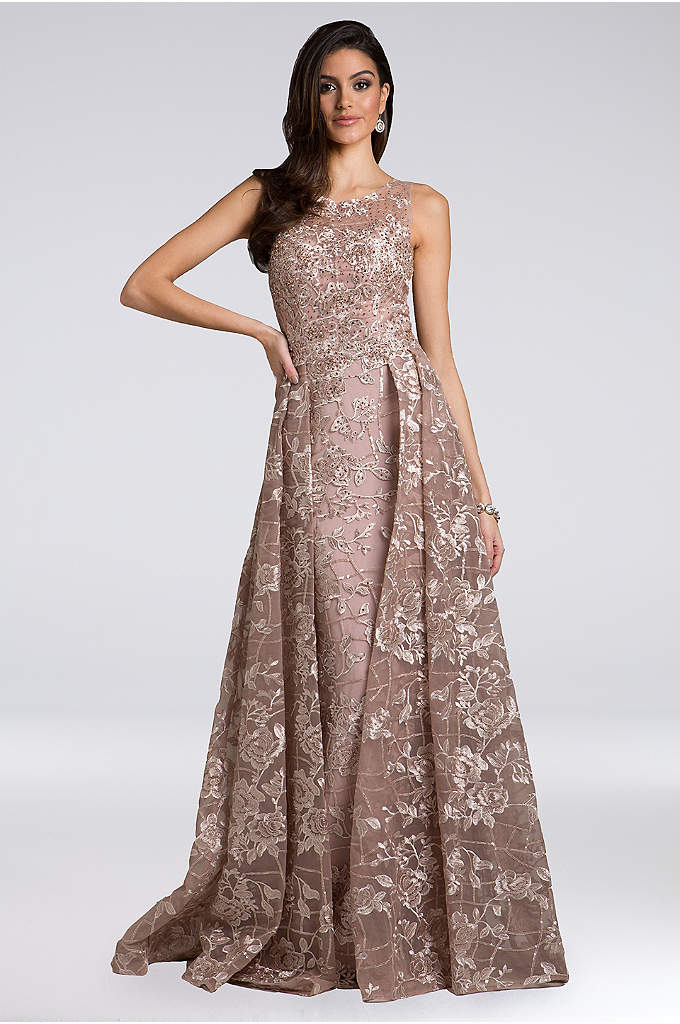 Lara Adina Lace Appliqued Gown with Overskirt - Equally sleek and dramatic, this beaded and floral-appliqued
