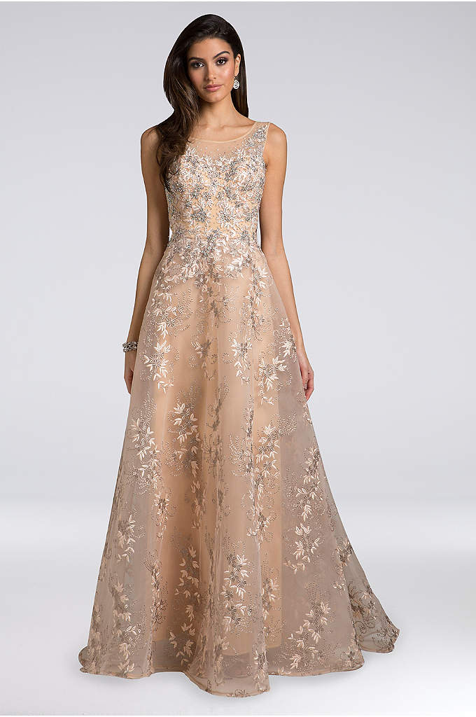 Lara Alana Appliqued Organza Ball Gown - Appliqued blossoms and sparkling rhinestones beautifully adorn this