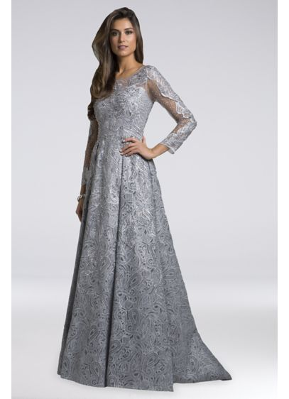 Lara Avery Lace Ball Gown - Unique paisley lace gives this long-sleeve ball gown