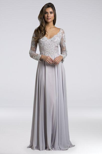 Lara Alexandra Long Sleeve Chiffon A Line Gown Davids Bridal