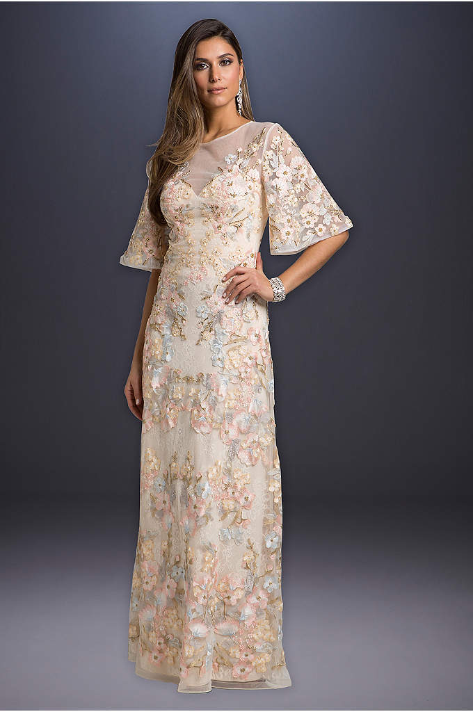 Lara Alexis Floral Lace Wedding Dress - Beads and floral lace adorn this long, A-line