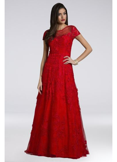 Lara Arissa Short Sleeve Floral Lace Ball Gown - Complete with short sleeves and an illusion neckline,