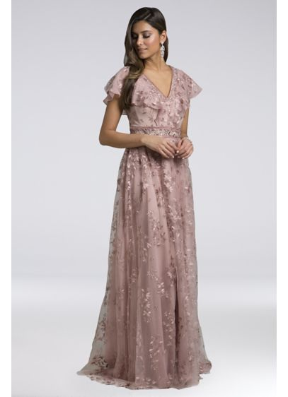 Lara Anastasia Lace Gown with Flutter Sleeves - This flowing lace gown features an intricate floral
