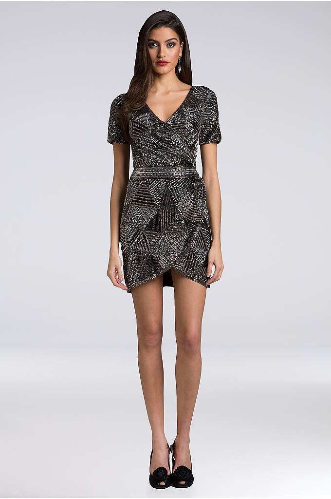 Lara Ainsley Beaded Mesh Short Dress - Geometric beading and a faux-wrap silhouette make this