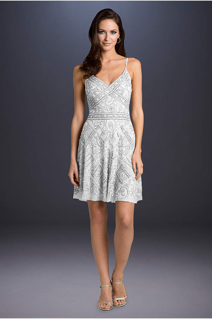 Lara Annabelle Beaded A-Line Dress - Topped with spaghetti straps and patchwork-style beading, this