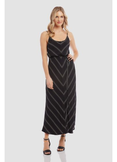 Printed Spaghetti Strap Cami Maxi Dress with Tie - A floral chevron print pops from this flowy