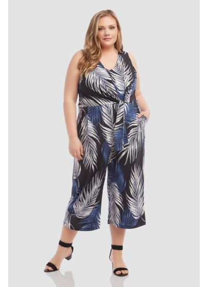 Printed Tie-Front Wide-Leg Plus Size Jumpsuit - Perfect for destination weddings or any warm-weather getaway,